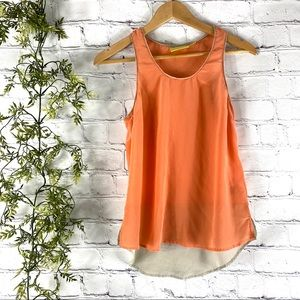 Anthropologie Maeve Orange Colorblock Silk Tank